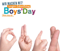 Gebärdenzeichen und Boys'Day-Logo