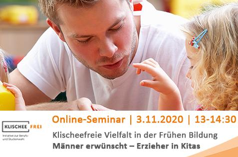Banner zum Online-Seminar der Initiative Klischeefrei