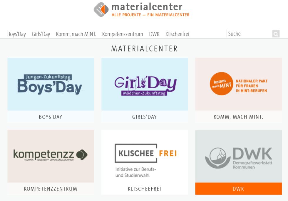Screenshot Materialcenter kompetenzz